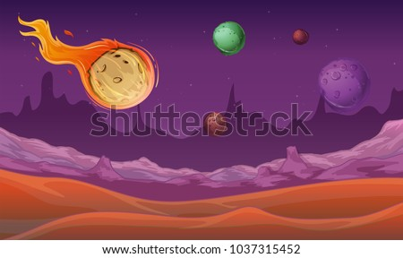 Background scene with comet and other planets in space illustration