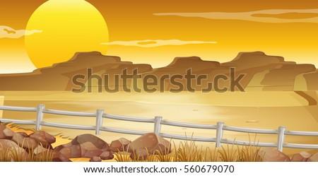 Background scene with desert at sunset illustration