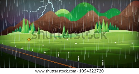 background scene with rain in
