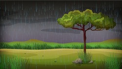 Background scene with rain in the park illustration
