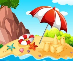 Background scene with sandcastle on the beach illustration