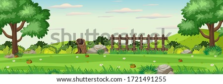 Background scene with wooden fence in the park illustration ストックフォト ©