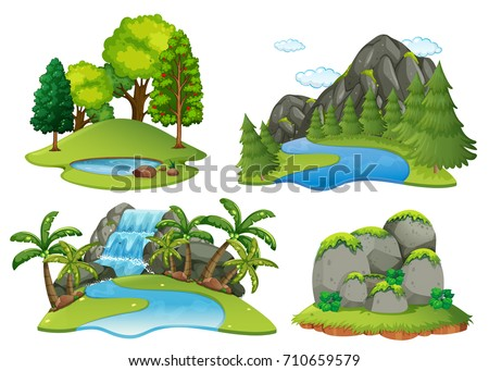 Background scenes with forest and waterfall illustration