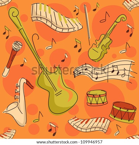 Background Seamless Illustration Featuring Musical Instruments