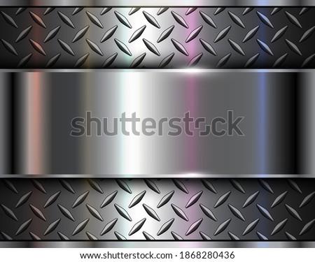 Background silver metallic, 3d chrome vector design with diamond plate sheet metal texture. Foto d'archivio ©