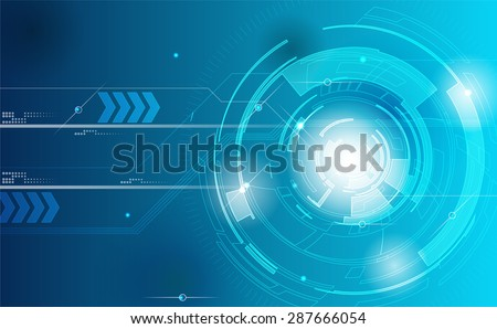 Background Technology. Blue tech background with shining abstract objects. Vector tech circle and technology background, speed communication concept.