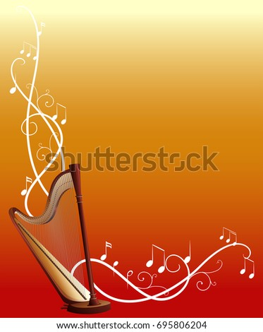 Background template with harp and music notes illustration #695806204