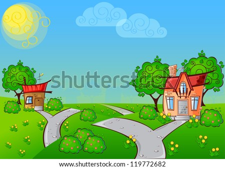 background the path to a cartoon house with the cat on the roof surrounded by trees #119772682