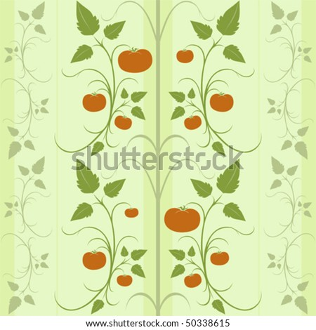 background tile pattern featuring ripe tomatoes and swirling vines