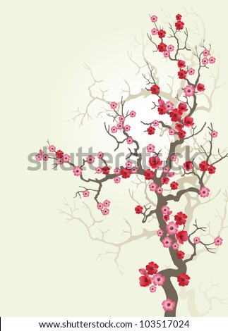 Background to blooming Sakura. Vector.