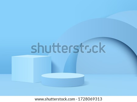 Background vector 3d blue display product with podium and minimal blue scene, minimal background 3d rendered products geometric shape blue pastel pedestal. Stage 3d for product on podium in background
