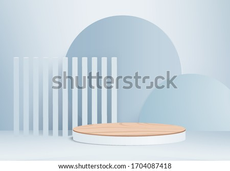 Background vector 3d blue render with wood podium and minimal blue scene, wood minimal platform background 3d rendering vector geometric shape blue pastel. wood stage for product on platform 3d