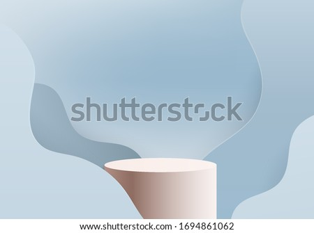 Background vector 3d blue rendered with marble podium and minimal blue cylinder scene, curve background 3d rendering podium platform shape blue pastel. 3D stage podium product on 3d background modern