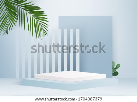 Background vector 3d blue rendering for product podium and minimal blue scene, minimal abstract product background 3d render abstract geometric shape blue pastel. Stage for product modern on podium.