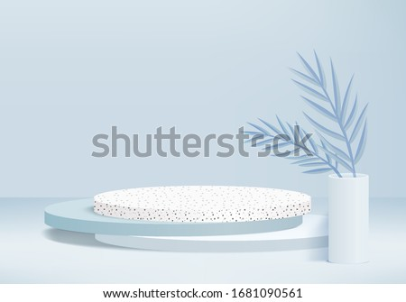 Background vector 3d blue rendering with podium and marble texture wall scene, minimal abstract background 3d rendering abstract geometric shape blue pastel color. Stage for award on website in modern