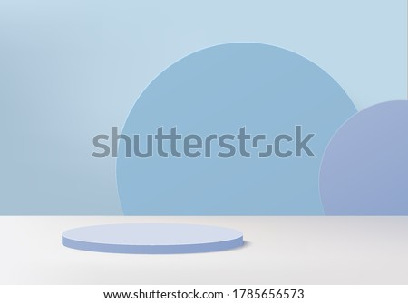 Background vector 3d blue rendering with podium and minimal blue color scene 3d, minimal abstract background 3d rendering geometric shape blue pastel color. Stage for awards on products in modern.
