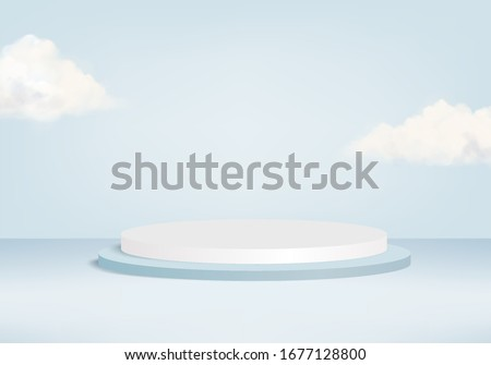 Background vector 3d blue rendering with podium and minimal blue pastel scene, minimal abstract background 3d rendered geometric shape blue pastel. Stage for product pastel modern in background studio