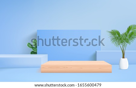background vector 3d blue rendering with podium and minimal blue pastel wall scene, minimal abstract background 3d rendering abstract geometric shape blue pastel color and palm leaf
