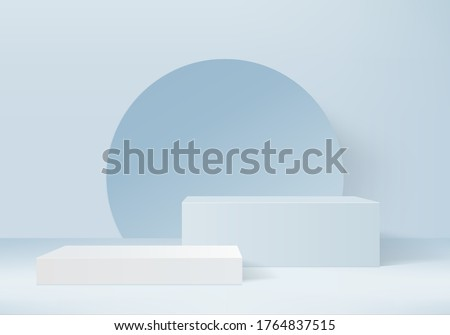 Background vector 3d blue rendering with podium and minimal blue stand scene, stand minimal blue background 3d rendering abstract geometric shape blue pastel display. Stage for award on display stand
