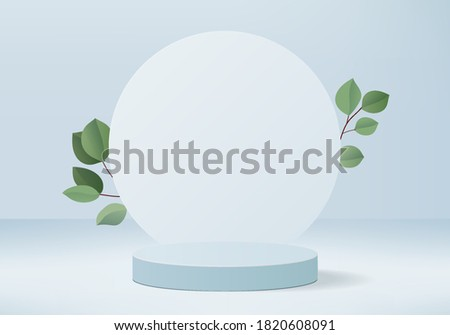 Background vector 3d blue rendering with podium and minimal blue summer stage with leaves, stage background 3d rendering abstract geometric shape blue color. Stage for show product cosmetic.