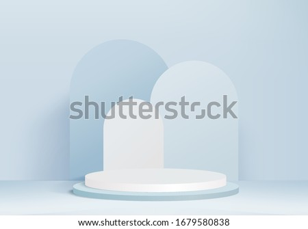 Background vector 3d blue rendering with podium and minimal blue wall scene, decoration abstract background 3d rendering abstract geometric shape blue pastel color. Stage for awards on glass modern.