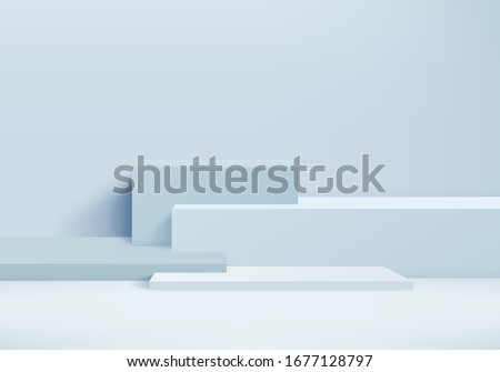 Background vector 3d blue rendering with podium and minimal blue wall scene, minimal abstract background 3d rendering abstract geometric shape blue pastel color. Stage for product on website in modern