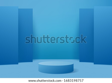 Background vector 3d blue rendering with podium and minimal blue wall scene, minimal abstract background 3d rendering abstract geometric shape blue pastel color. Stage platform for awards in modern.
