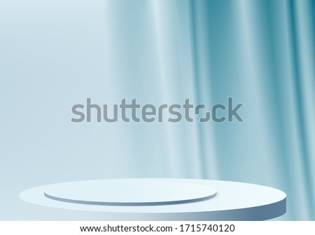 Background vector 3d blue rendering with podium and minimal blue wall scene, minimal abstract background 3d rendering abstract geometric shape blue podium. Stage for product in 3d abstract background