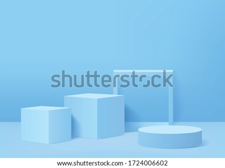 Background vector 3d blue rendering with podium and minimal blue wall scene, minimal pedestal background 3d rendering stage geometric shape blue pastel. Stage for display on blue pastel pedestal.