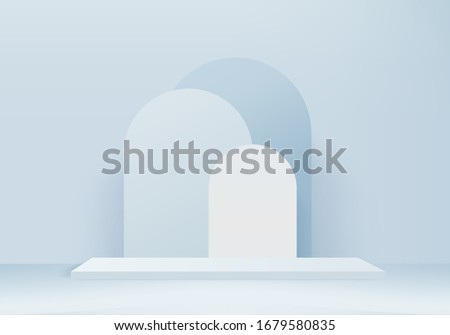 Background vector 3d blue rendering with podium and minimal blue wall scene, minimal scene background 3d rendering abstract geometric shape blue pastel color. Stage for product on scene in platform.