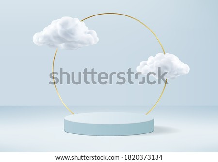 Background vector 3d blue rendering with podium and minimal cloud scene, minimal product display background 3d rendered geometric shape sky cloud blue pastel. Stage 3d render in cloud product platform stock photo