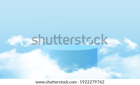 Background vector 3d blue rendering with podium and minimal cloudy scene. Minimal product display background of 3d rendered geometric shape sky blue cloud pastel.Vector illustration