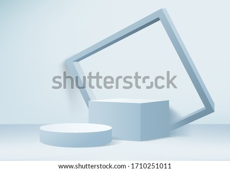 Background vector 3d blue rendering with podium and minimal product blue wall scene, stage background 3d rendering shot geometric blue pastel. Stage 3d for product on podium in blue background shot