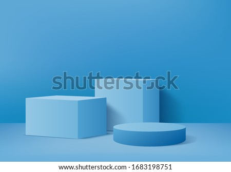 Background vector 3d blue rendering with podium and pedestal blue scene, minimal scene background 3d rendering product pedestal blue pastel scene. Stage 3d for product pedestal in blue platform studio
