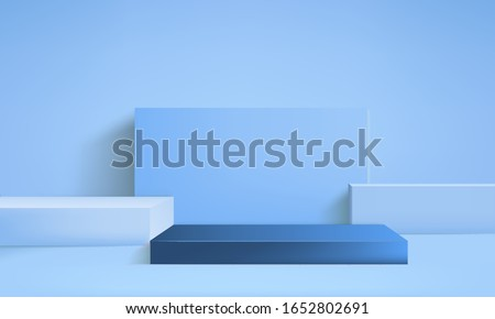 background vector 3d blue rendering with podium minimal blue display scene, minimal display background 3d rendering abstract geometric shape blue pastel, 3D stand pedestal background for show product