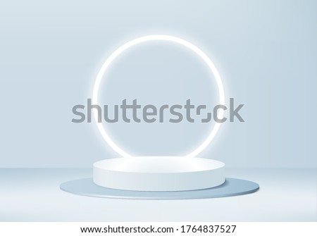 Background vector 3d blue rendering with stage product and minimal blue wall scene, minimal product background 3d rendering abstract stage geometric shape blue pastel colors. Stage for product modern.