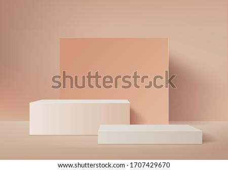 Background vector 3d brown rendering with podium and minimal orange wall scene, minimal abstract gray background 3d rendering geometric shape white. podium for white product render in background.