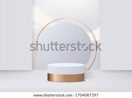 Background vector 3d gold rendering with podium minimal white wall scene, minimal abstract gold background 3d rendering abstract geometric shape gold podium. Gold stage for awards on vector podium