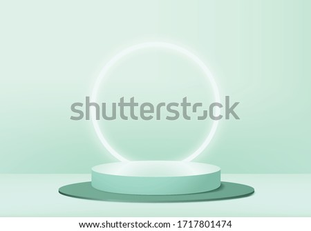 Background vector 3d green pastel rendering with podium and minimal green scene, minimal podium  abstract background 3d rendering shape green pastel color. Stage for awards on product in green stand