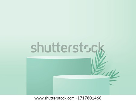 Background vector 3d green rendering with podium and minimal green stage, minimal podium product  background 3d rendering geometric shape green pastel. Stage for product in backgrounds light studio