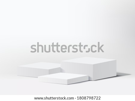 Background vector 3d grey rendering with cylinder podium and stage wall grey scene with modern box, stage minimal background 3d rendering abstract geometric shape white. Stage grey for show cosmetic