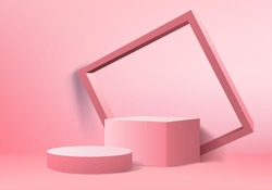 Background vector 3d love pink rendering with podium and minimal pink valentine scene, minimal abstract background 3d rendering abstract geometric shape pink pastel. Stage for cube product in modern.