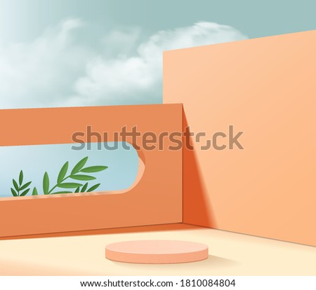 Background vector 3d orange coral cylinder podium and minimal summer cloud scene with leaves, wood podium 3d rendering, abstract geometric pink pastel. Stage product cosmetic platform 3d sky display.