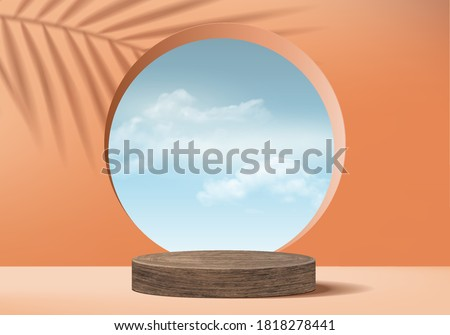 Background vector 3d orange coral cylinder wood podium and minimal cloud scene with leave, wood podium 3d rendering, wood podium geometric pink pastel. Stage products halloween platform 3d sky display