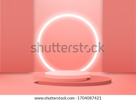 Background vector 3d orange rendering with podium and minimal orange scene, minimal abstract background 3d rendering geometric shape orange pastel color. Stage for awards on website in modern.