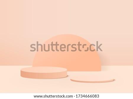 Background vector 3d orange rendering with podium and minimal pastel scene showcase, podium showcase background 3d rendering geometric shape orange pastel. Stage for showcase on Background 3d render.