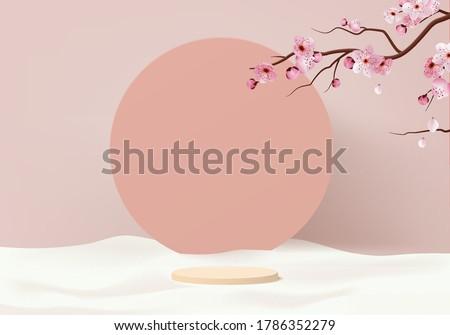 Background vector 3d pink render with sakura flower and pink pastel scene Japanese style, sakura minimal background 3d rendering display geometric pink sakura pastel. Stage spring for sakura product