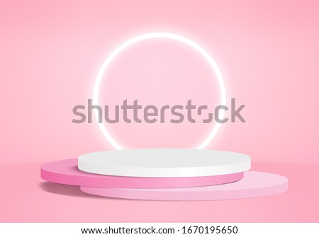 Background vector 3d pink rendering with podium and minimal pink product scene, minimal scene background 3d rendering abstract geometric shape pink pastel. Stage 3d for product on scene in modern