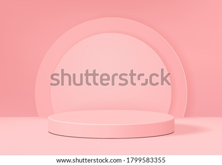 Background vector 3d pink rendering with podium and minimal pink scene, minimal abstract background 3d rendering abstract geometric shape pink pastel color. Stage for product on cylinder modern.