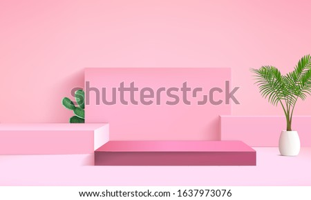 background vector 3d pink rendering with podium and minimal pink scene, palm tree on pink room, minimal abstract background 3d rendering abstract geometric shape pink pastel, steps for cube product,